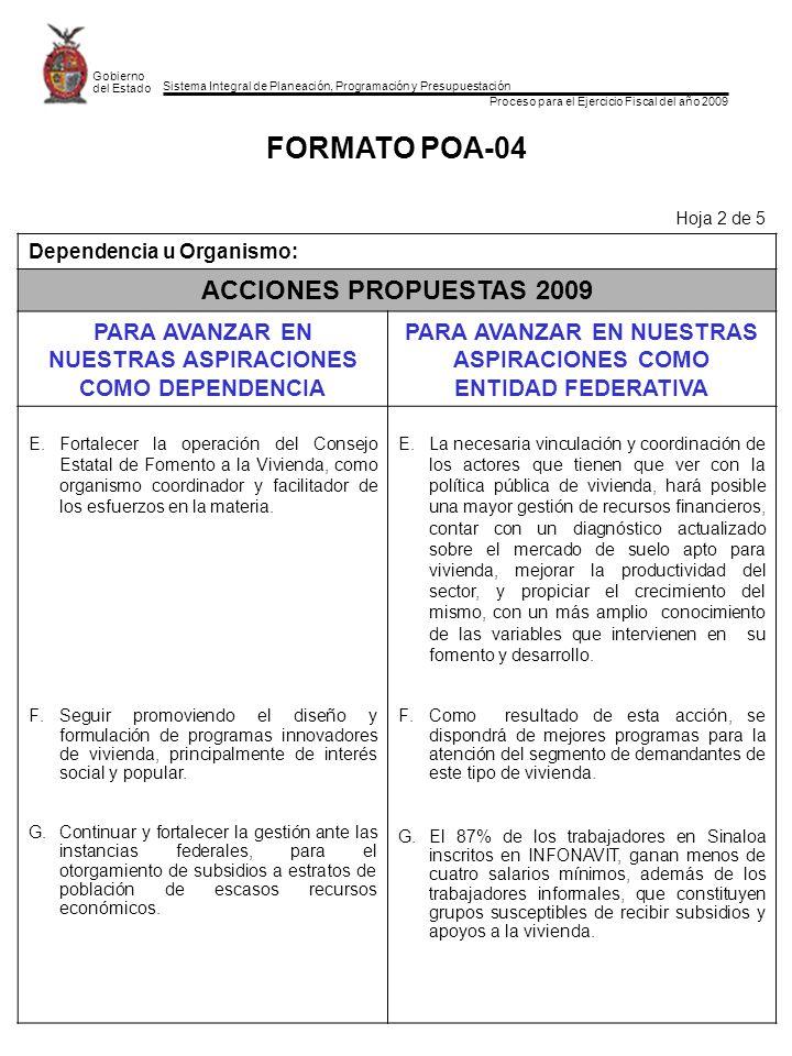 Sistema Integral de Planeación, Programación y Presupuestación Proceso para el Ejercicio Fiscal del año 2009 Gobierno del Estado FORMATO POA-04 Hoja 2