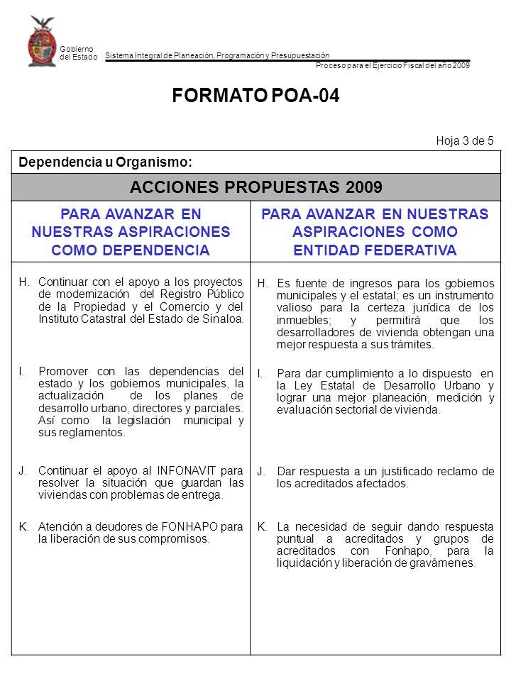 Sistema Integral de Planeación, Programación y Presupuestación Proceso para el Ejercicio Fiscal del año 2009 Gobierno del Estado FORMATO POA-04 Hoja 3