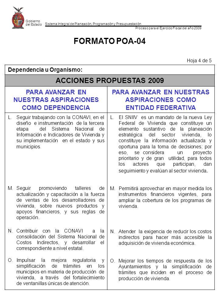 Sistema Integral de Planeación, Programación y Presupuestación Proceso para el Ejercicio Fiscal del año 2009 Gobierno del Estado FORMATO POA-04 Hoja 4
