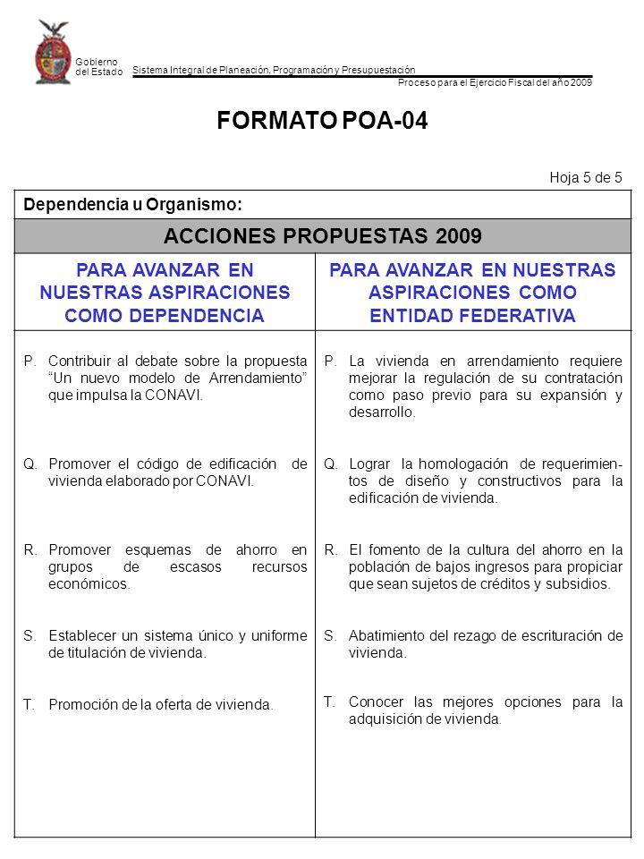 Sistema Integral de Planeación, Programación y Presupuestación Proceso para el Ejercicio Fiscal del año 2009 Gobierno del Estado FORMATO POA-04 Hoja 5