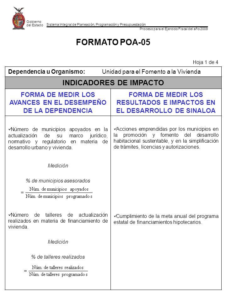 Sistema Integral de Planeación, Programación y Presupuestación Proceso para el Ejercicio Fiscal del año 2009 Gobierno del Estado FORMATO POA-05 Hoja 1