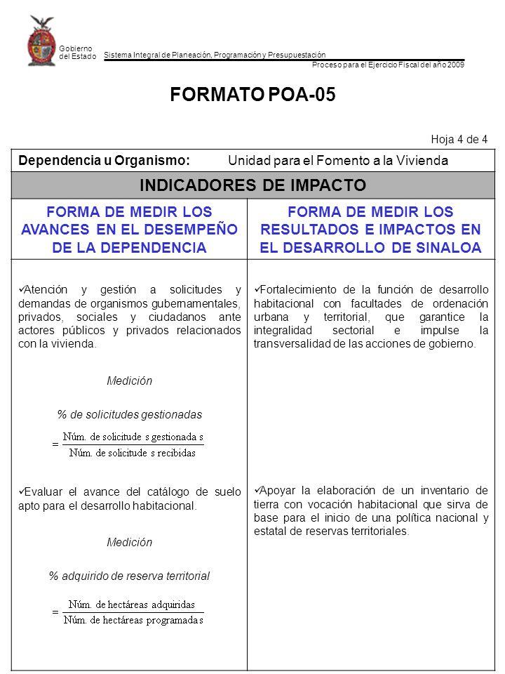 Sistema Integral de Planeación, Programación y Presupuestación Proceso para el Ejercicio Fiscal del año 2009 Gobierno del Estado FORMATO POA-05 Hoja 4