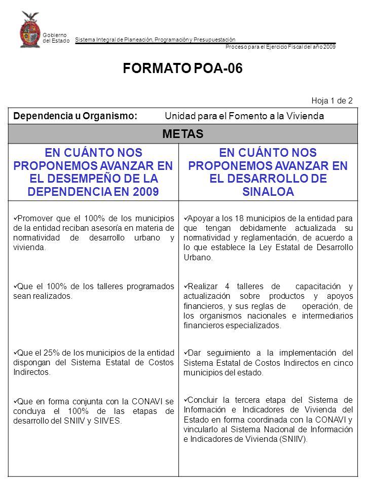 Sistema Integral de Planeación, Programación y Presupuestación Proceso para el Ejercicio Fiscal del año 2009 Gobierno del Estado FORMATO POA-06 Hoja 1
