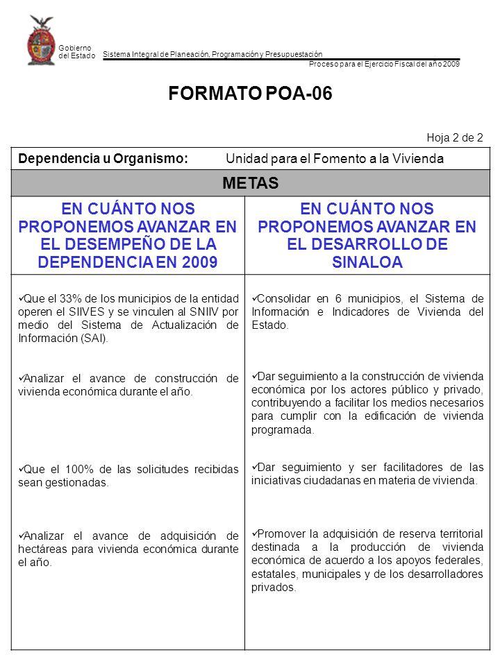 Sistema Integral de Planeación, Programación y Presupuestación Proceso para el Ejercicio Fiscal del año 2009 Gobierno del Estado FORMATO POA-06 Hoja 2