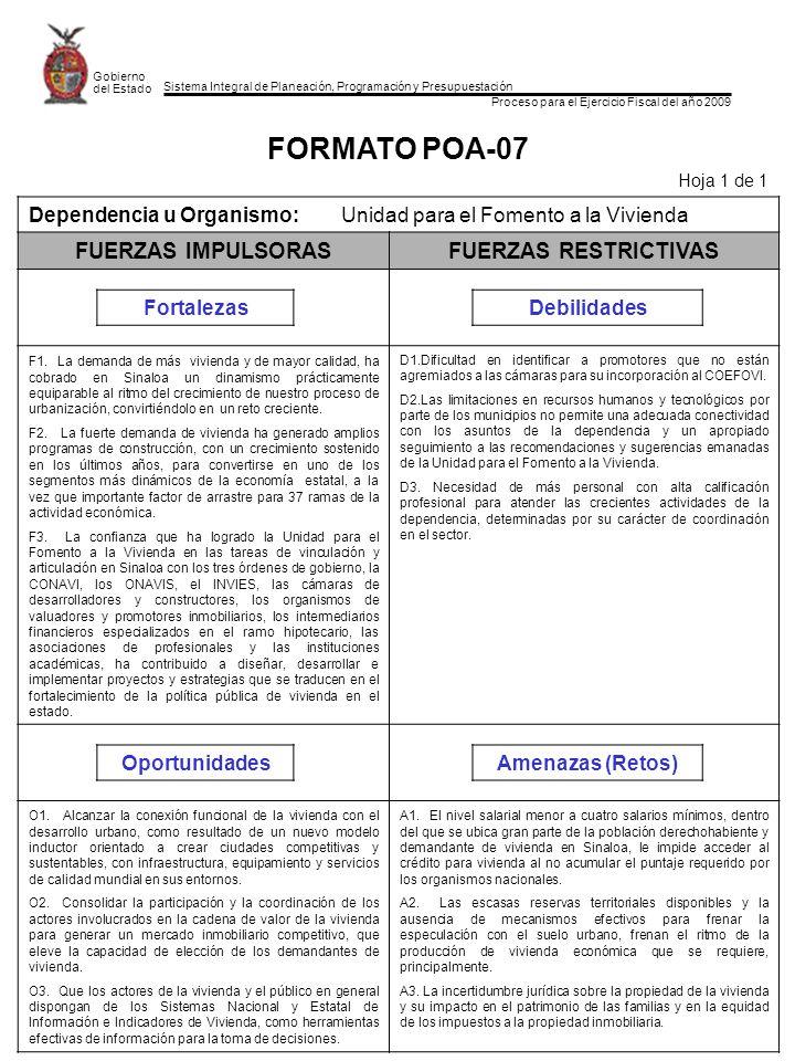 Sistema Integral de Planeación, Programación y Presupuestación Proceso para el Ejercicio Fiscal del año 2009 Gobierno del Estado FORMATO POA-07 Hoja 1