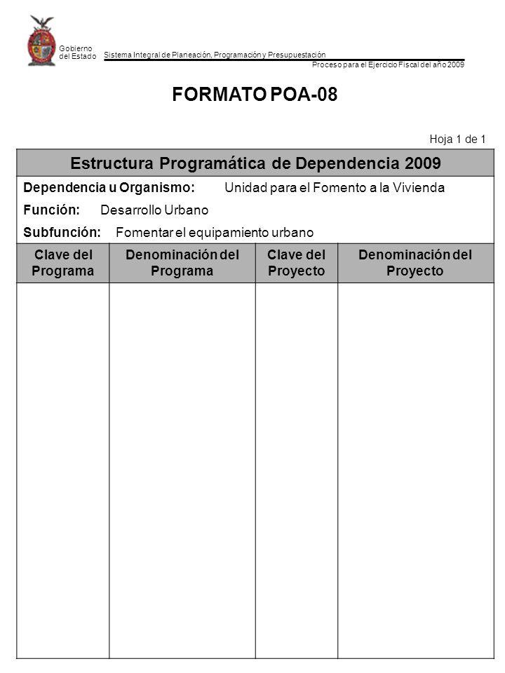 Sistema Integral de Planeación, Programación y Presupuestación Proceso para el Ejercicio Fiscal del año 2009 Gobierno del Estado FORMATO POA-08 Hoja 1