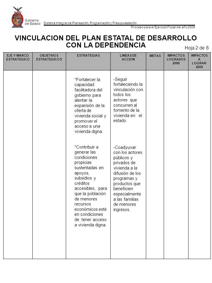 Sistema Integral de Planeación, Programación y Presupuestación Proceso para el Ejercicio Fiscal del año 2009 Gobierno del Estado FORMATO POA-02 Hoja 5 de 5 Dependencia u Organismo:Unidad para el Fomento a la Vivienda PRIORIDADES Y COMPROMISOS POR SINALOA PRIORIDADES DE GOBIERNO PRIORIDADES Y COMPROMISOS POR SINALOA QUE ASUME LA DEPENDENCIA Y ORGANISMO PARA 2009 19.Consolidar la tenencia jurídica de la propiedad del inmueble y que este activo tenga uso patrimonial.