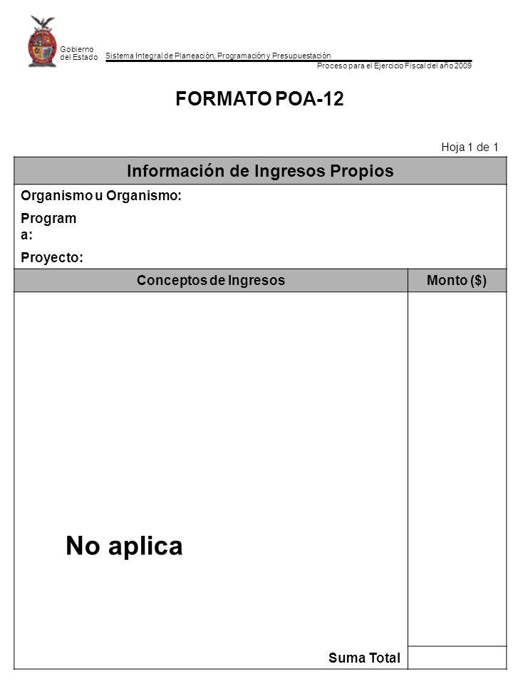 Sistema Integral de Planeación, Programación y Presupuestación Proceso para el Ejercicio Fiscal del año 2009 Gobierno del Estado FORMATO POA-12 Hoja 1