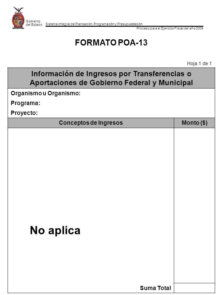 Sistema Integral de Planeación, Programación y Presupuestación Proceso para el Ejercicio Fiscal del año 2009 Gobierno del Estado FORMATO POA-13 Hoja 1