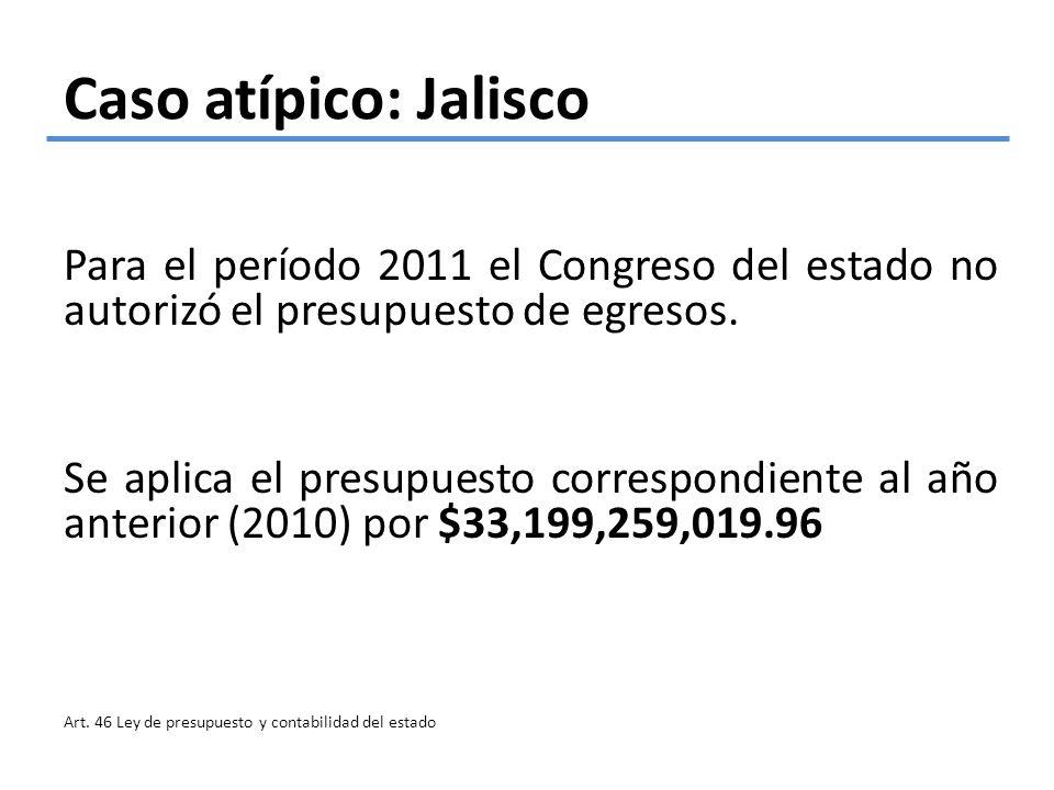 Caso atípico: Jalisco Para el período 2011 el Congreso del estado no autorizó el presupuesto de egresos. Se aplica el presupuesto correspondiente al a