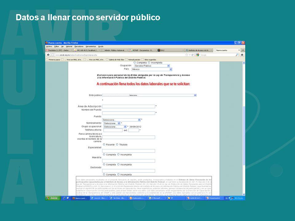 Datos a llenar como servidor público