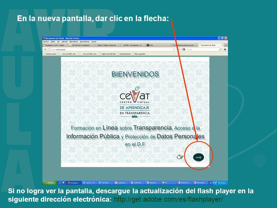 En la nueva pantalla, dar clic en la flecha: Si no logra ver la pantalla, descargue la actualización del flash player en la siguiente dirección electrónica: http://get.adobe.com/es/flashplayer/