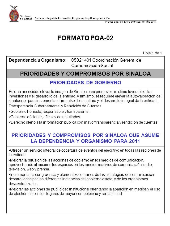 Sistema Integral de Planeación, Programación y Presupuestación Proceso para el Ejercicio Fiscal del año 2011 Gobierno del Estado FORMATO POA-03 Hoja 1 de 1 Dependencia u Organismo: 05021401 Coordinación General de Comunicación Social VISION TACTICA DEHASTA NUESTROS RETOS OPERATIVOS (PROBLEMAS FUNDAMENTALES) ACTUALES DE LA DEPENDENCIA NUESTRAS ASPIRACIONES PARA MEJORAR EL FUNCIONAMIENTO DE LA DEPENDENCIA EN 2011 Conformar un equipo de trabajo único entre las diferentes áreas de comunicación de las dependencias y la Coordinación General de manera que se actúe en forma sincronizada para dar a conocer las actividades y programas gubernamentales Fortalecer los medios de comunicación propios con la participación sistemática de todas las dependencias en la generación de la noticia y con la aparición regular en los mismos para posicionar desde todos los ángulos lo que distinguió a la actual administración.