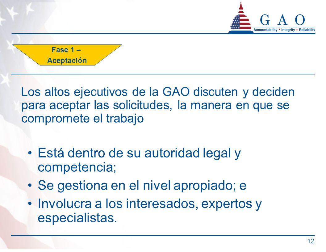 Los altos ejecutivos de la GAO discuten y deciden para aceptar las solicitudes, la manera en que se compromete el trabajo Está dentro de su autoridad legal y competencia ; Se gestiona en el nivel apropiado; e Involucra a los interesados, expertos y especialistas.