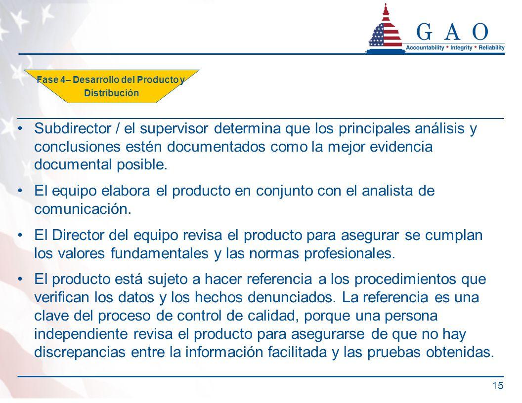 Subdirector / el supervisor determina que los principales análisis y conclusiones estén documentados como la mejor evidencia documental posible. El eq