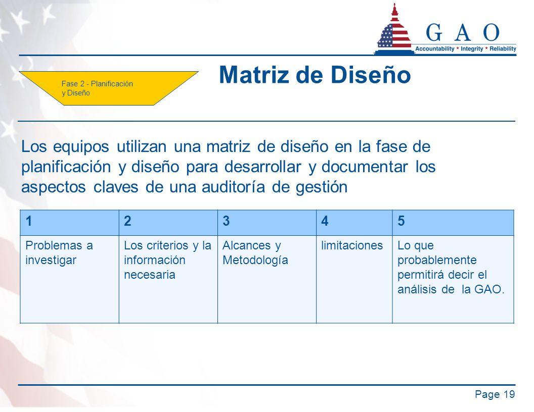 Matriz de Diseño Page 19 12345 Problemas a investigar Los criterios y la información necesaria Alcances y Metodología limitacionesLo que probablemente permitirá decir el análisis de la GAO.