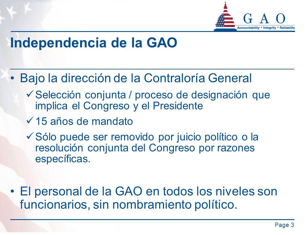 Independencia de la GAO Bajo la dirección de la Contraloría General Selección conjunta / proceso de designación que implica el Congreso y el President