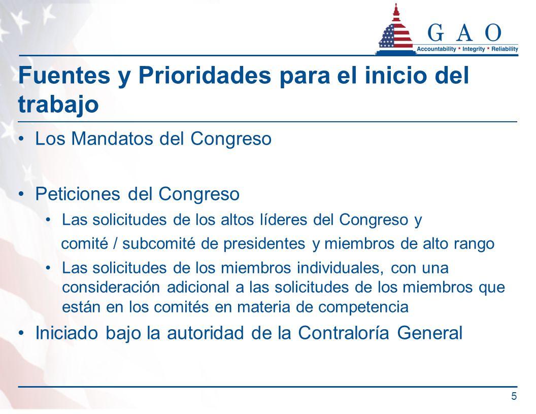 Fuentes y Prioridades para el inicio del trabajo Los Mandatos del Congreso Peticiones del Congreso Las solicitudes de los altos líderes del Congreso y