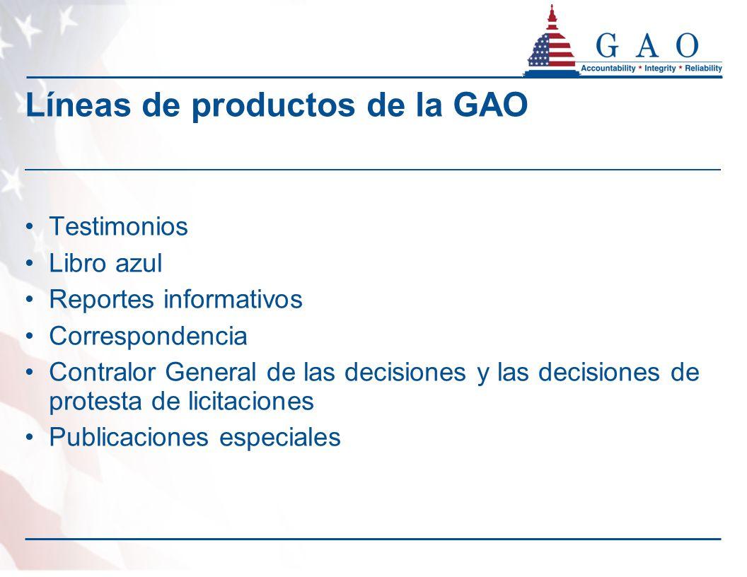 Líneas de productos de la GAO Testimonios Libro azul Reportes informativos Correspondencia Contralor General de las decisiones y las decisiones de pro