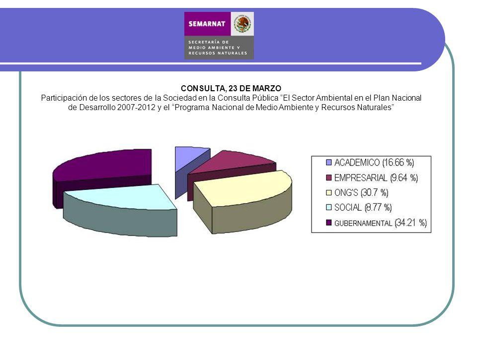 CONSULTA, 23 DE MARZO Participación de los sectores de la Sociedad en la Consulta Pública El Sector Ambiental en el Plan Nacional de Desarrollo 2007-2
