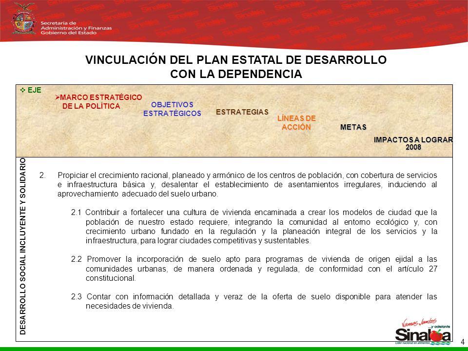 Sistema Integral de Planeación, Programación y Presupuestación del Gasto Público Proceso para el Ejercicio Fiscal del año 2005 4 OBJETIVOS ESTRATÉGICOS LÍNEAS DE ACCIÓN METAS IMPACTOS A LOGRAR 2008 EJE MARCO ESTRATÉGICO DE LA POLÍTICA ESTRATEGIAS VINCULACIÓN DEL PLAN ESTATAL DE DESARROLLO CON LA DEPENDENCIA DESARROLLO SOCIAL INCLUYENTE Y SOLIDARIO 2.Propiciar el crecimiento racional, planeado y armónico de los centros de población, con cobertura de servicios e infraestructura básica y, desalentar el establecimiento de asentamientos irregulares, induciendo al aprovechamiento adecuado del suelo urbano.