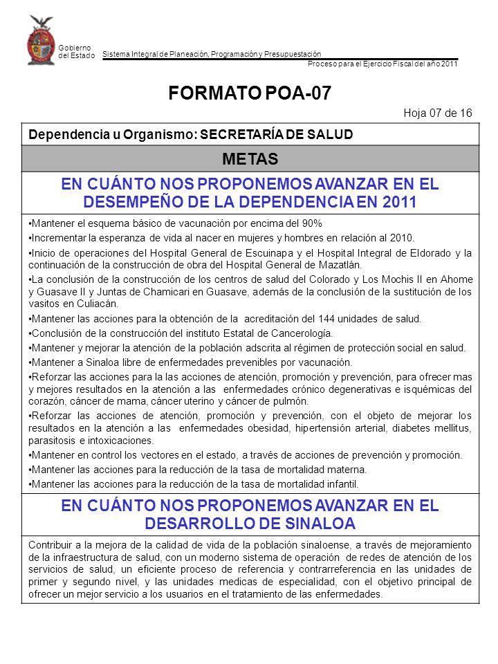 Sistema Integral de Planeación, Programación y Presupuestación Proceso para el Ejercicio Fiscal del año 2011 Gobierno del Estado FORMATO POA-07 Hoja 0