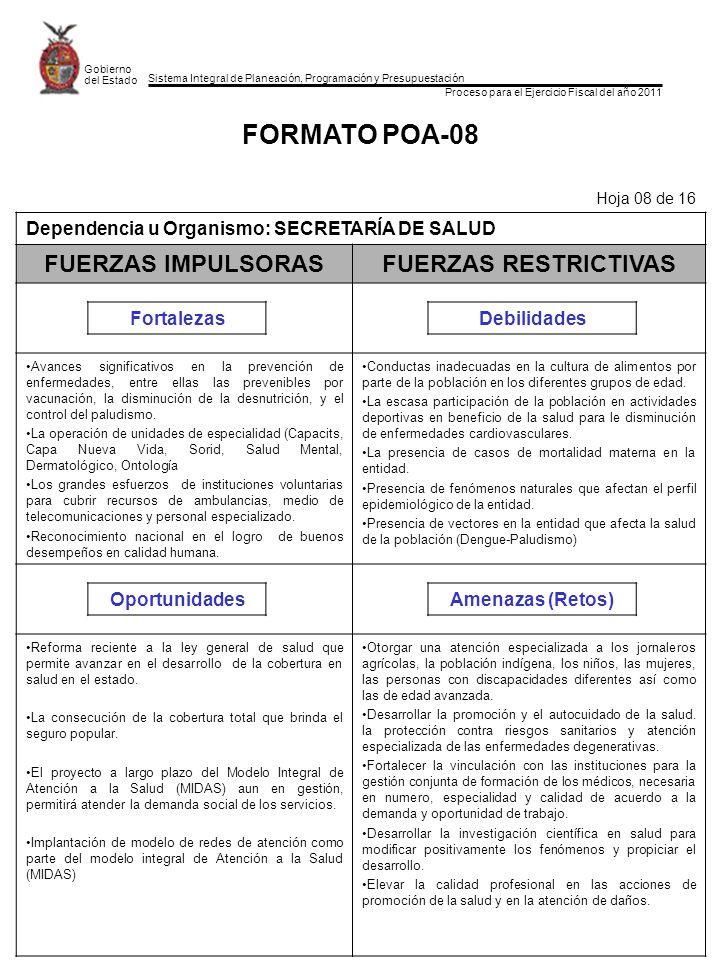 Sistema Integral de Planeación, Programación y Presupuestación Proceso para el Ejercicio Fiscal del año 2011 Gobierno del Estado FORMATO POA-08 Hoja 0