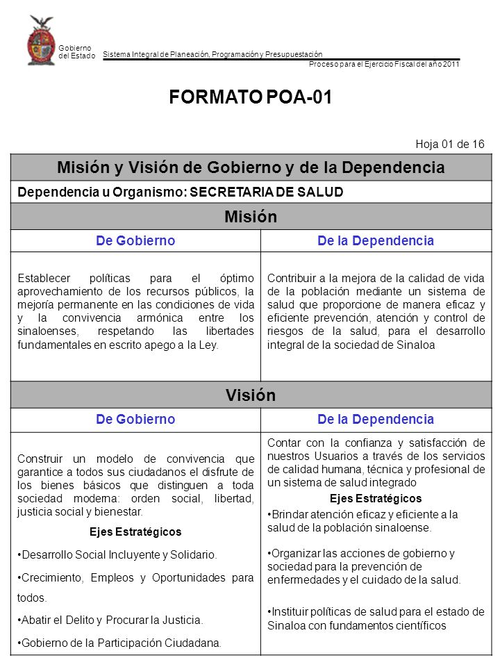 Sistema Integral de Planeación, Programación y Presupuestación Proceso para el Ejercicio Fiscal del año 2011 Gobierno del Estado FORMATO POA-01 Hoja 0