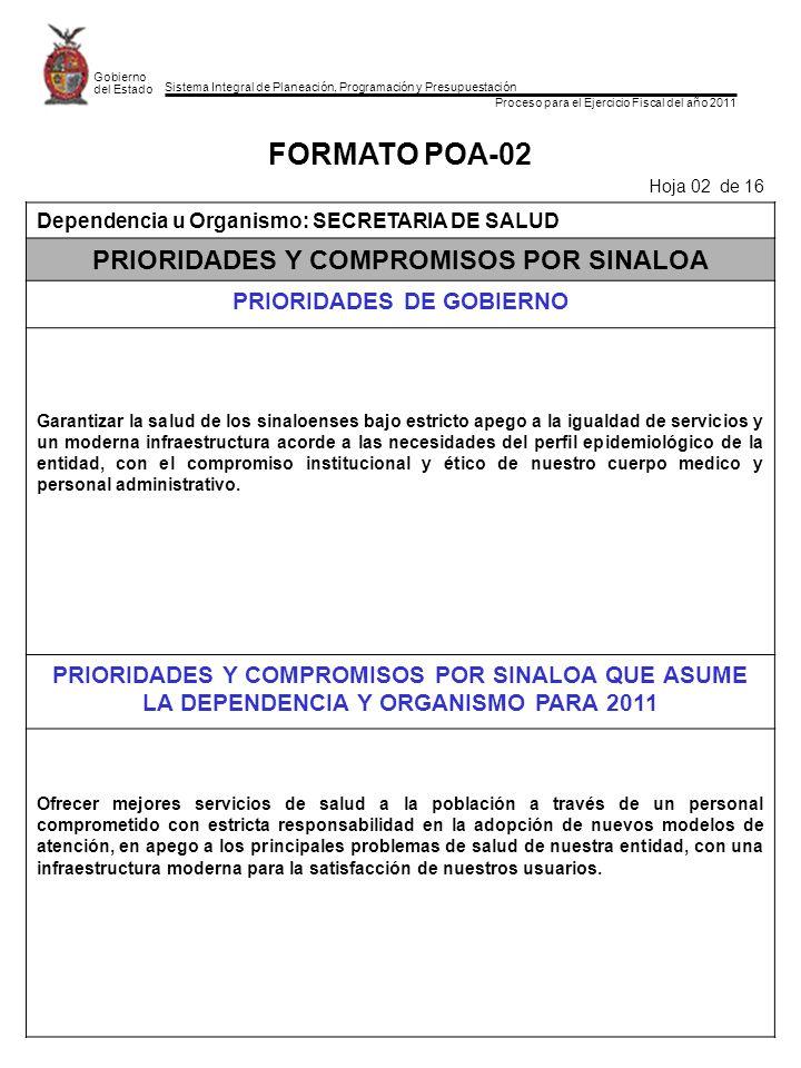 Sistema Integral de Planeación, Programación y Presupuestación Proceso para el Ejercicio Fiscal del año 2011 Gobierno del Estado FORMATO POA-02 Hoja 0