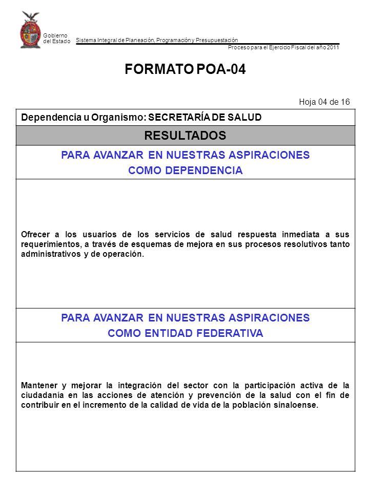 Sistema Integral de Planeación, Programación y Presupuestación Proceso para el Ejercicio Fiscal del año 2011 Gobierno del Estado FORMATO POA-04 Hoja 0