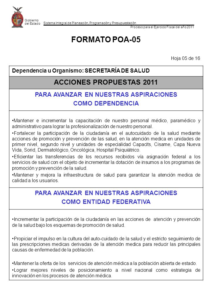 Sistema Integral de Planeación, Programación y Presupuestación Proceso para el Ejercicio Fiscal del año 2011 Gobierno del Estado FORMATO POA-16 Hoja 16 de 16 Estructura Funcional Dependencia u Organismo: SECRETARIA DE SALUD Programa: DESARROLLO SOCIAL INCLUYENTE Y SOLIDARIO ClaveFunción / SubfunciónMonto ($) Función 08 SALUD Y ASISTENCIA SOCIAL$18,295,985.00 Subfunción 01 FOMENTAR LA SALUD FONDO DE APORTACION DE PARA LOS SERVICIOS DE SALUD (FASSA 2011) $1,488,619,809.00 Total$1,506,915794.00