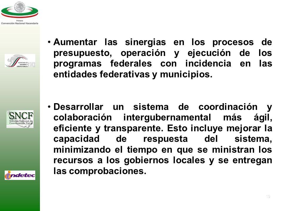 9 Otorgar certidumbre y transparencia respecto a los montos, fórmulas y fechas de asignación de los recursos públicos federales transferidos a las ent
