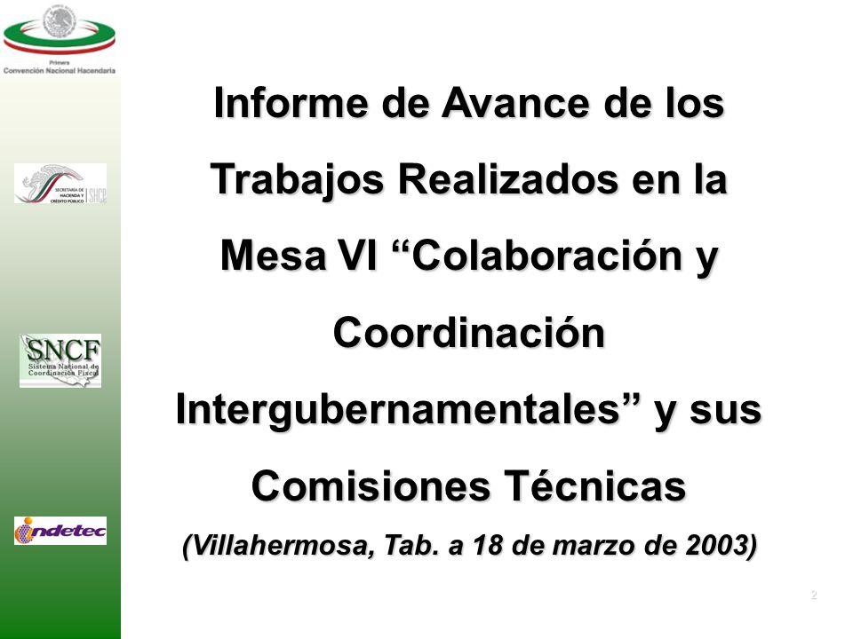 2 Informe de Avance de los Trabajos Realizados en la Mesa VI Colaboración y Coordinación Intergubernamentales y sus Comisiones Técnicas (Villahermosa, Tab.