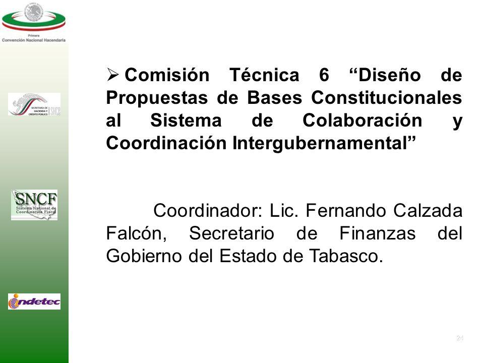23 Comisión Técnica 5 Organismos del Sistema Nacional de Coordinación Fiscal. Coordinador: Lic. Armando Díaz de León, Coordinador de Política Fiscal y