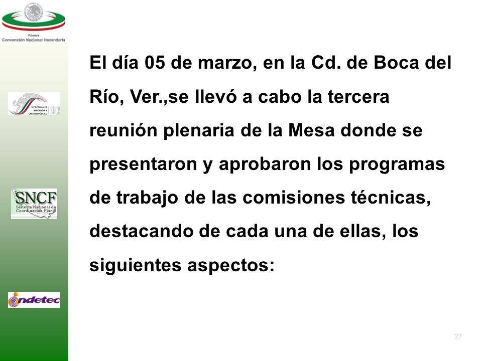 26 Aprobación del Calendario de Sesiones para el Desarrollo de los Trabajos de la Mesa. 1.Viernes 20 de febrero, en la Ciudad de Pachuca Hidalgo. 2.Vi