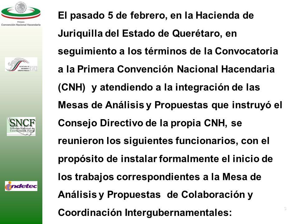 3 El pasado 5 de febrero, en la Hacienda de Juriquilla del Estado de Querétaro, en seguimiento a los términos de la Convocatoria a la Primera Convención Nacional Hacendaria (CNH) y atendiendo a la integración de las Mesas de Análisis y Propuestas que instruyó el Consejo Directivo de la propia CNH, se reunieron los siguientes funcionarios, con el propósito de instalar formalmente el inicio de los trabajos correspondientes a la Mesa de Análisis y Propuestas de Colaboración y Coordinación Intergubernamentales: