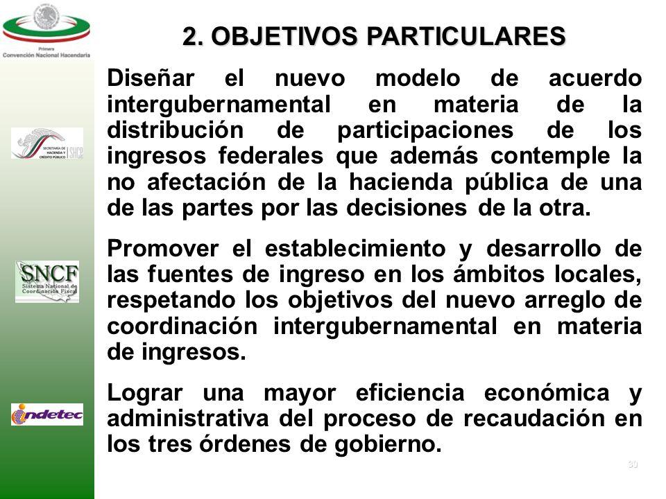 29 1. OBJETIVO GENERAL Proponer un modelo de coordinación intergubernamental en materia de coparticipación y distribución de participaciones de ingres
