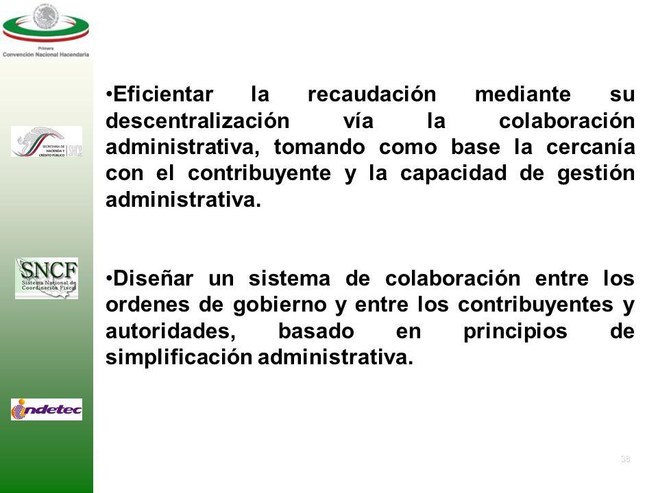 37 2. OBJETIVOS PARTICULARES Mejorar la relación existente entre los objetivos funcionales y recaudatorios alcanzados por los gobiernos municipales y