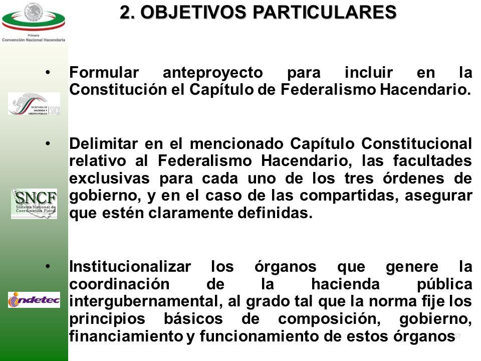 56 1. OBJETIVO GENERAL Proponer en el plano constitucional un modelo jurídico de colaboración y coordinación intergubernamentales dentro del marco del