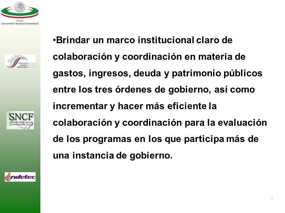 8 Brindar un marco institucional claro de colaboración y coordinación en materia de gastos, ingresos, deuda y patrimonio públicos entre los tres órdenes de gobierno, así como incrementar y hacer más eficiente la colaboración y coordinación para la evaluación de los programas en los que participa más de una instancia de gobierno.