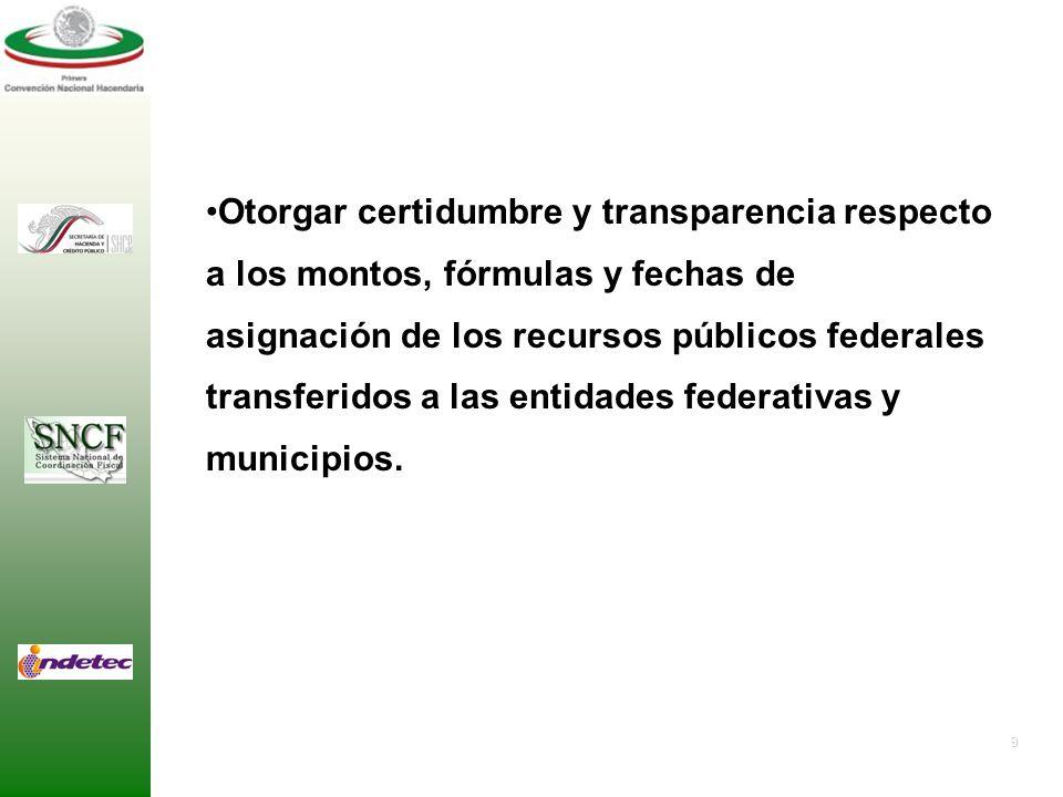 9 Otorgar certidumbre y transparencia respecto a los montos, fórmulas y fechas de asignación de los recursos públicos federales transferidos a las entidades federativas y municipios.