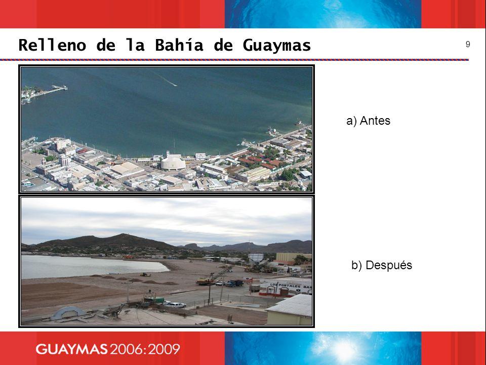 Relleno de la Bahía de Guaymas 9 a) Antes b) Después