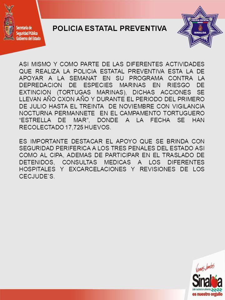 ASI MISMO Y COMO PARTE DE LAS DIFERENTES ACTIVIDADES QUE REALIZA LA POLICIA ESTATAL PREVENTIVA ESTA LA DE APOYAR A LA SEMANAT EN SU PROGRAMA CONTRA LA DEPREDACION DE ESPECIES MARINAS EN RIESGO DE EXTINCION (TORTUGAS MARINAS), DICHAS ACCIONES SE LLEVAN AÑO CXON AÑO Y DURANTE EL PERIODO DEL PRIMERO DE JULIO HASTA EL TREINTA DE NOVIEMBRE CON VIGILANCIA NOCTURNA PERMANNETE EN EL CAMPAMENTO TORTUGUERO ESTRELLA DE MAR, DONDE A LA FECHA SE HAN RECOLECTADO 17,725 HUEVOS.