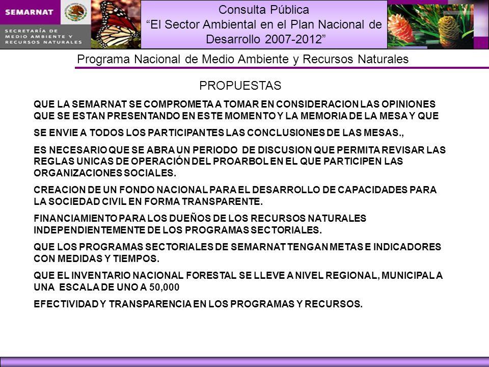 Consulta Pública El Sector Ambiental en el Plan Nacional de Desarrollo 2007-2012 Programa Nacional de Medio Ambiente y Recursos Naturales PROPUESTAS Q