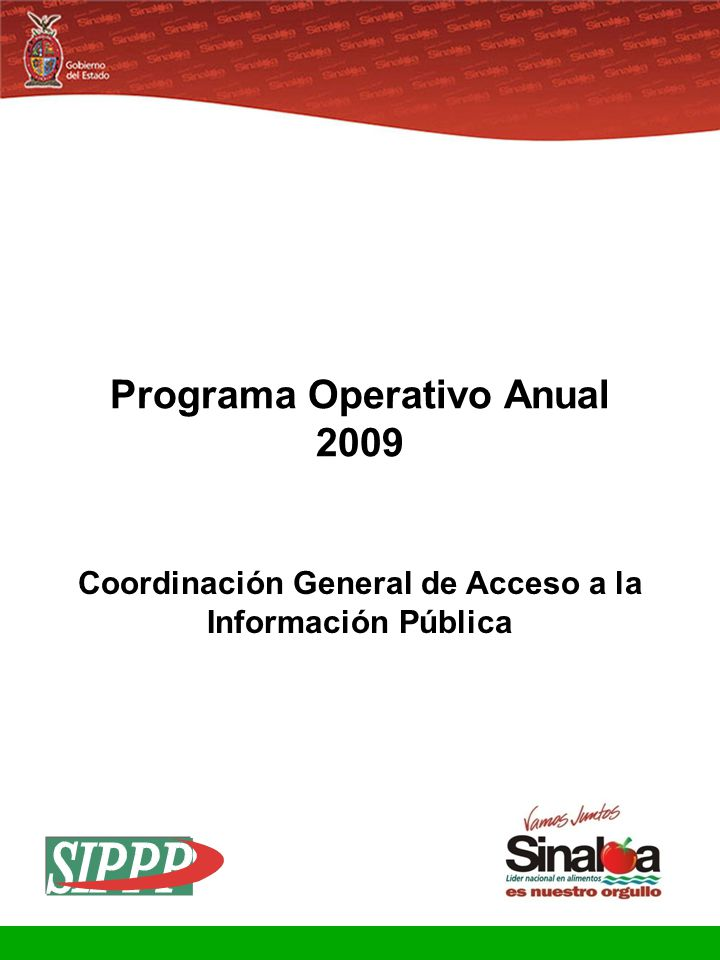 Sistema Integral de Planeación, Programación y Presupuestación Proceso para el Ejercicio Fiscal del año 2009 Gobierno del Estado Programa Operativo Anual 2009 Coordinación General de Acceso a la Información Pública