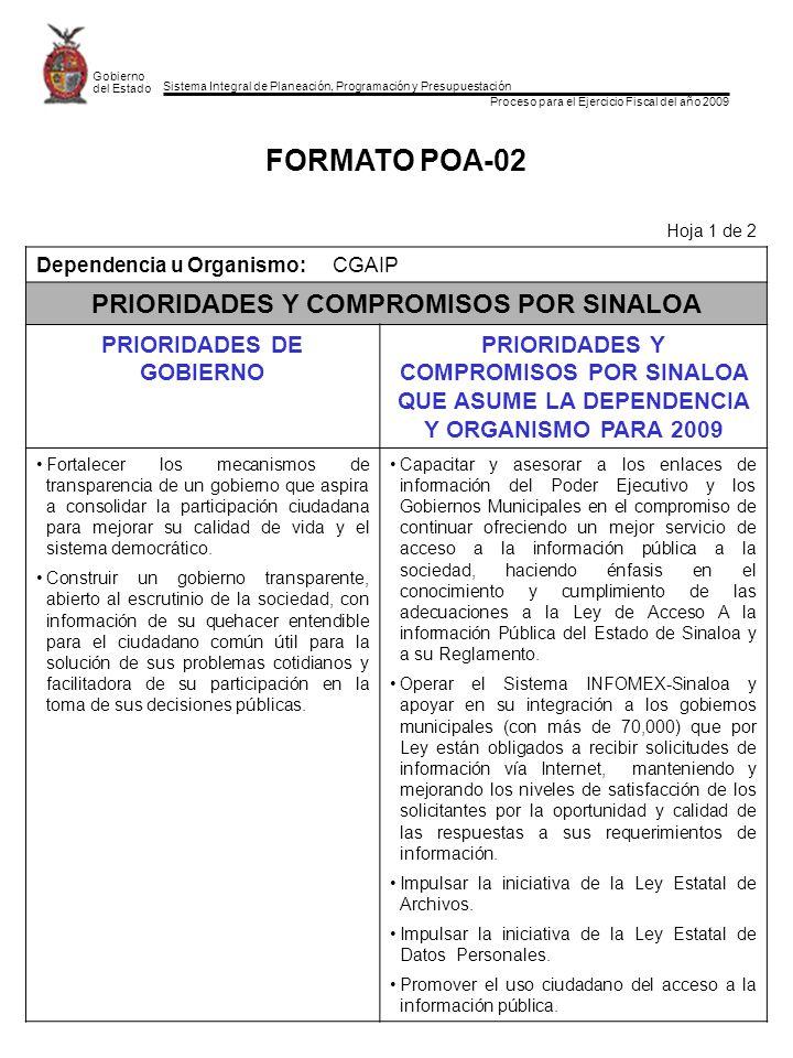 Sistema Integral de Planeación, Programación y Presupuestación Proceso para el Ejercicio Fiscal del año 2009 Gobierno del Estado FORMATO POA-02 Hoja 1 de 2 Dependencia u Organismo:CGAIP PRIORIDADES Y COMPROMISOS POR SINALOA PRIORIDADES DE GOBIERNO PRIORIDADES Y COMPROMISOS POR SINALOA QUE ASUME LA DEPENDENCIA Y ORGANISMO PARA 2009 Fortalecer los mecanismos de transparencia de un gobierno que aspira a consolidar la participación ciudadana para mejorar su calidad de vida y el sistema democrático.