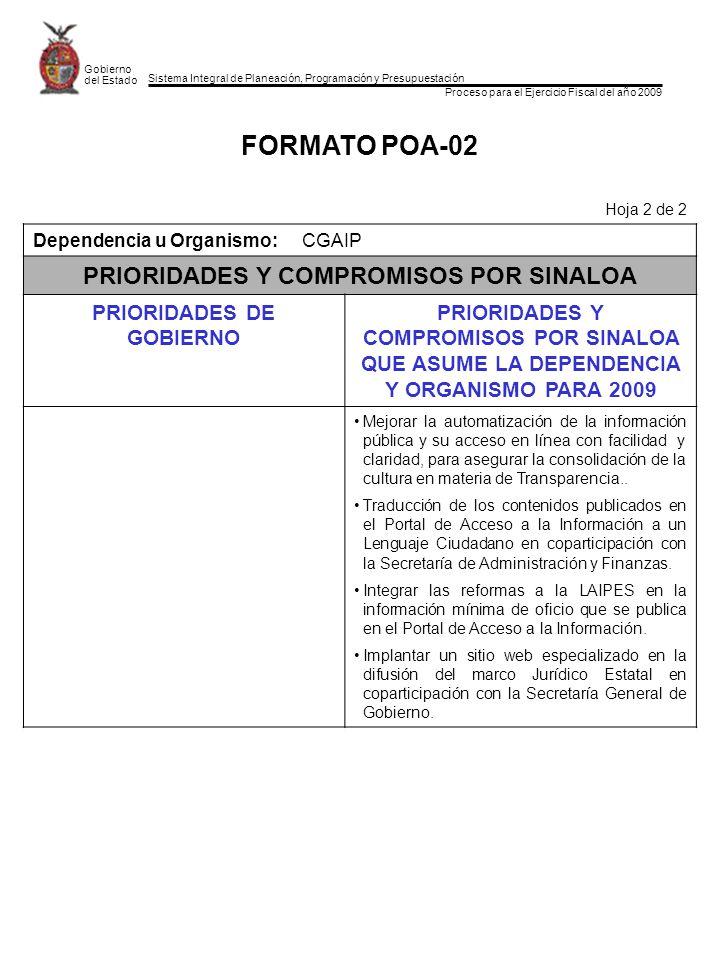 Sistema Integral de Planeación, Programación y Presupuestación Proceso para el Ejercicio Fiscal del año 2009 Gobierno del Estado FORMATO POA-02 Hoja 2 de 2 Dependencia u Organismo:CGAIP PRIORIDADES Y COMPROMISOS POR SINALOA PRIORIDADES DE GOBIERNO PRIORIDADES Y COMPROMISOS POR SINALOA QUE ASUME LA DEPENDENCIA Y ORGANISMO PARA 2009 Mejorar la automatización de la información pública y su acceso en línea con facilidad y claridad, para asegurar la consolidación de la cultura en materia de Transparencia..
