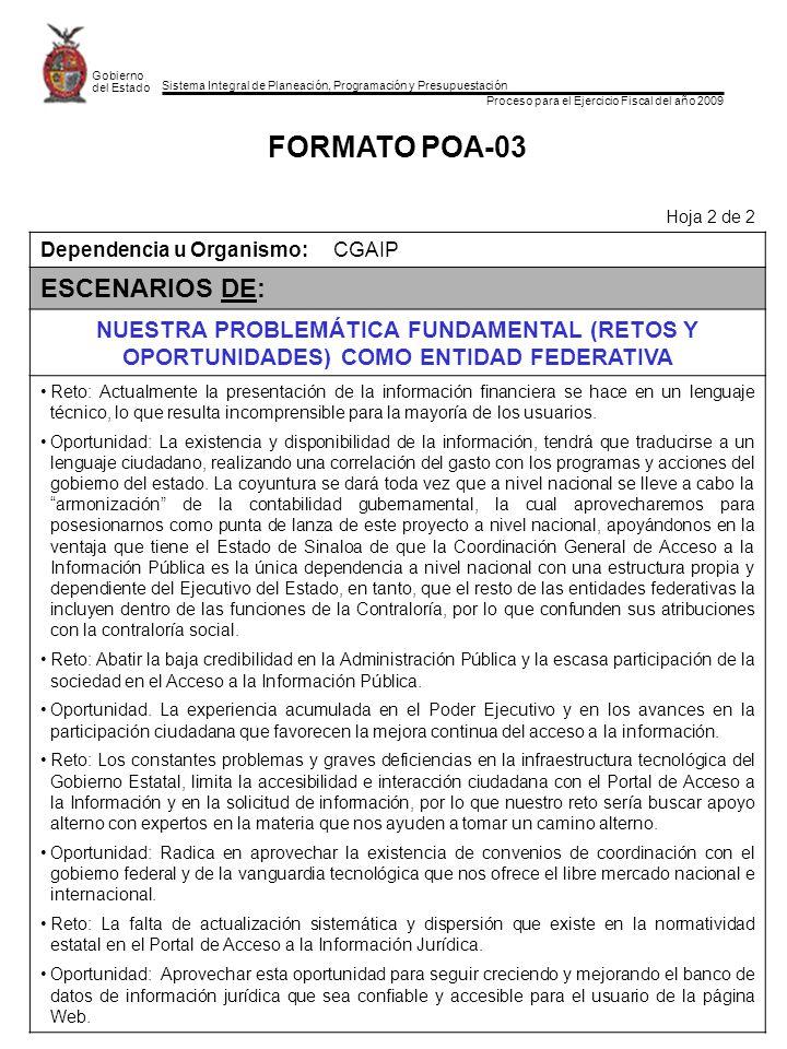 Sistema Integral de Planeación, Programación y Presupuestación Proceso para el Ejercicio Fiscal del año 2009 Gobierno del Estado FORMATO POA-03 Hoja 2
