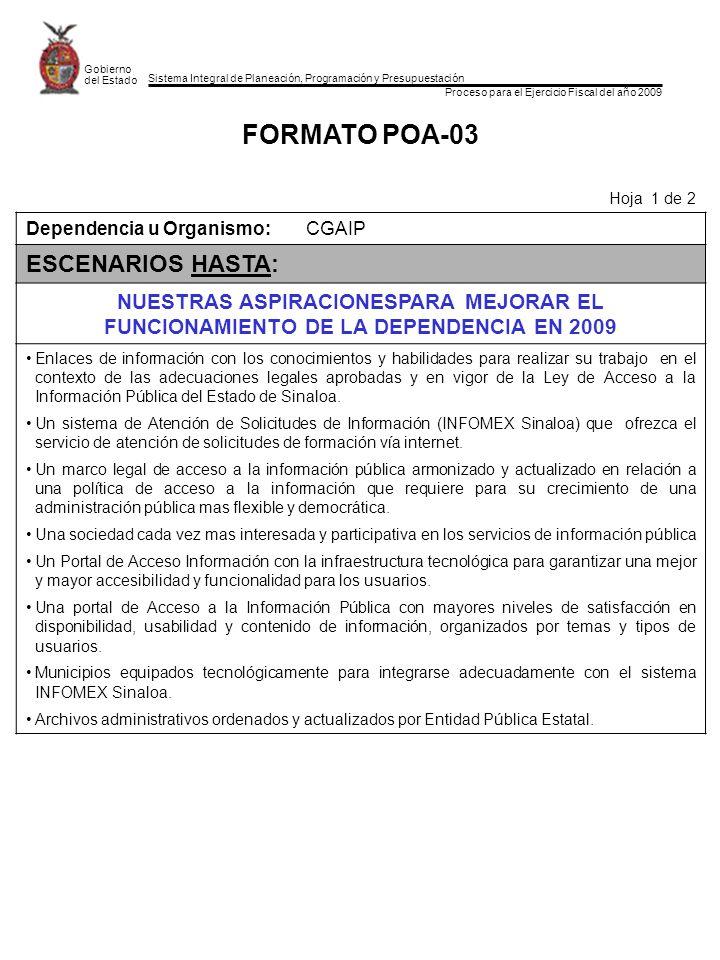 Sistema Integral de Planeación, Programación y Presupuestación Proceso para el Ejercicio Fiscal del año 2009 Gobierno del Estado FORMATO POA-03 Hoja 1