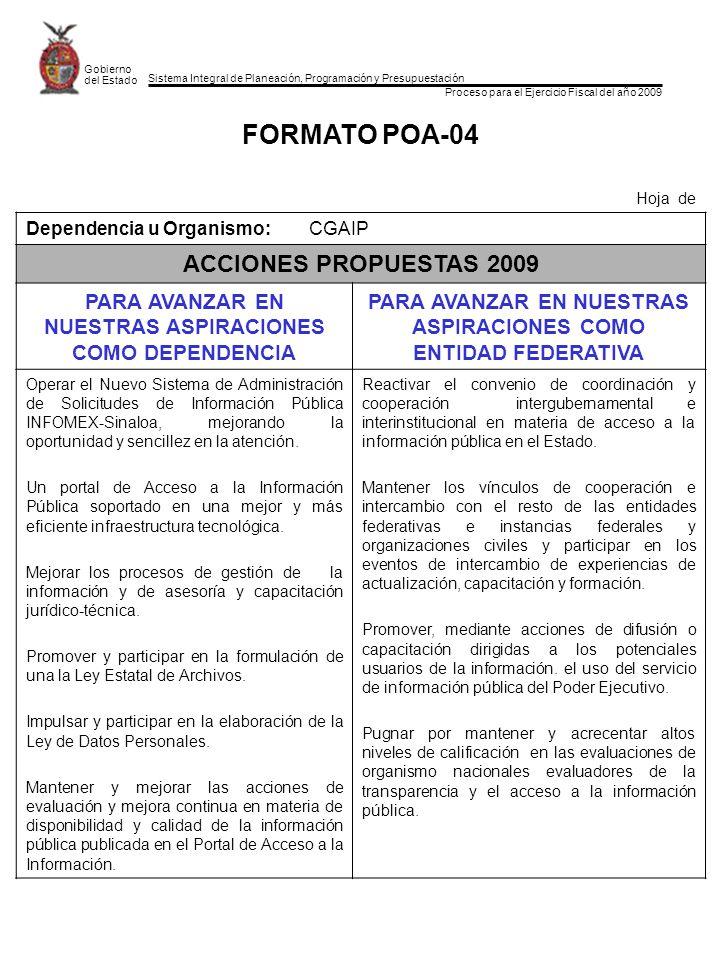 Sistema Integral de Planeación, Programación y Presupuestación Proceso para el Ejercicio Fiscal del año 2009 Gobierno del Estado FORMATO POA-04 Hoja d
